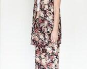 Velvet floral 2 piece Vest + Pants