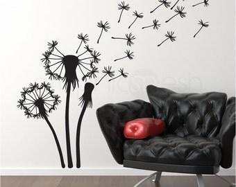 THREE DANDELIONS wall decals - Floral art stickers - Modern design interior decor
