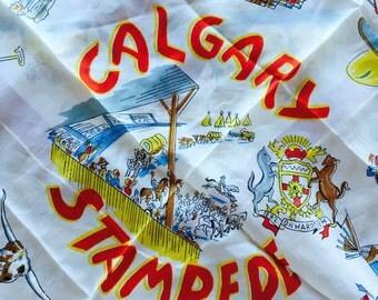 Vintage Souvenir Scarf Calgary Stampede Rodeo Western
