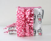 square ruffle zipper pouch -- floral coffee cups
