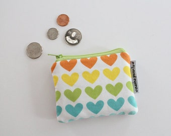 coin pouch -- rainbow hearts