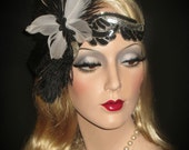 SOCIAL BUTTERFLY FLAPPER- Couture 20s Art Deco Flapper Headband, Black & White Feather Butterfly Gatsby Headband, 20s Great Gatsby Headpiece