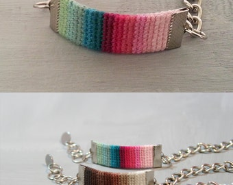 Colorful Bracelet - Crochet Band Bracelet Gradient Color Combo - Pink Green Womens Bracelet Chain Adjustable - Ibiza Style