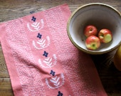 Folk Floral Tea Towel, Cotton/Linen Tea Towel