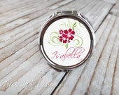 Bridesmaids Gift - Personalized Compact Mirror - Hula Hibiscus