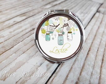 Personalized Bridesmaid Gift  Compact Mirror - Mason Jar In Green & Blue