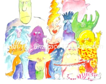 Halloween Greeting Card - Comical - Funny - Monsters - Strange - Relatives - Unused