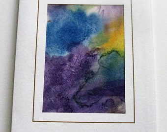 Hand painted silk card purple blue green yellow abstract design