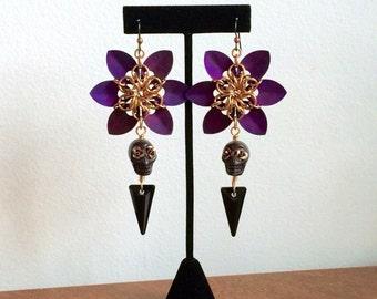Chainmaille Flower Earrings >> Halloween Earrings, Day of the Dead Earrings, Flower Earrings, Skull Earrings, Dia de los Muertos, OOAK