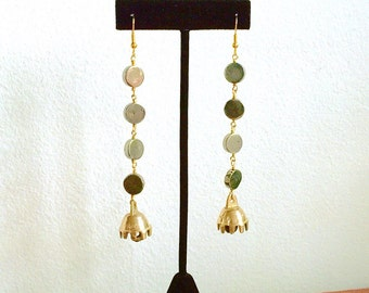 Pyrite & Tibetan Bells Earrings >> Pyrite Earrings, Bell Earrings, Fools Gold Earrings, Gemstone Earrings, Tibetan Bell Earrings, Brass