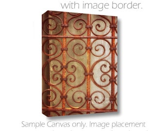 Rusty Wall Art-Architecture Photography-Wrought Iron Photography-Large Wall Canvas-Copper Wall Art-Vertical Canvas-Photo on Canvas-Rusty Art