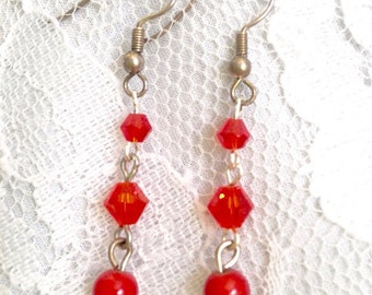 Red Swarovski Crystal, Polished Glass and Gold Fill, Drop Bead Dangle Earrings - Mid Century Modern - Vintage Inspired