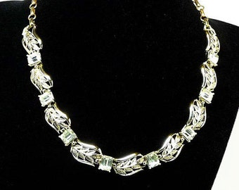 Coro Rhinestone Necklace - Clear Emerald Cut and Goldtone Leaves Links - Vintage Designer Signed