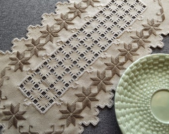 Hardanger Doily Centerpiece - Brown on Mushroom Colored Fabric with Cut Out Detail