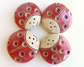 Ceramic Ladybug, Garden stone pottery, pottery Ladybug decoration, Easter gift, Fairy garden, handmade ceramics and pottery