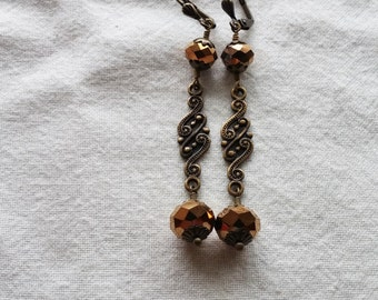 Brassy Bauble Dangle Earrings