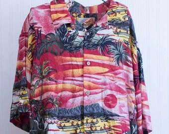 Vintage Mans Luau Shirt, Mens  Hawaiian Shirt, Retro Hawaii Beach Island Shirt, Size Large Red Pink Gray Sunset