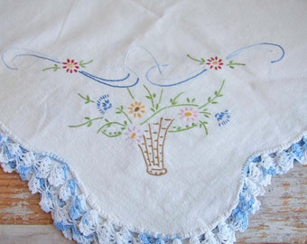 Vintage Dresser Scarf, Blue White Floral, Hand Embroidered,  Flower Basket, Cottage Home Decor,  Floral Bridal Luncheon Small Tablecloth