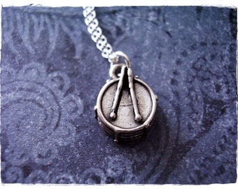 Tiny Drum Necklace - Sterling Silver Drum Charm on a Delicate Sterling Silver Cable Chain or Charm Only