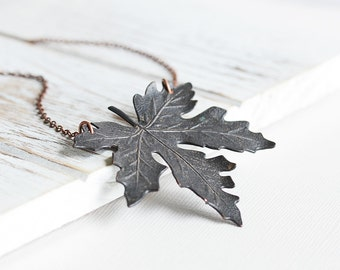 Black Leaf Necklace - Large Maple Leaf Necklace with Antiqued Copper Plated Chain, Woodland Fall Necklace, Rustic Autumn Jewelry (55mm)