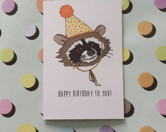 Happy Birthday - raccoon card