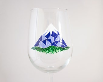 Snowcapped Mountain Hand Painted Wine Glass