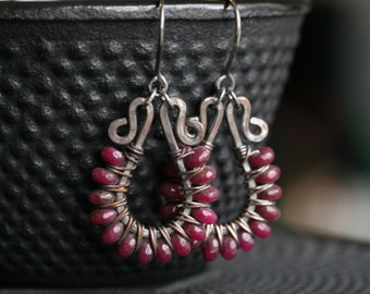 Magenta beaded dangle earrings, dyed jade stone, wire wrapped, dangle hoops, dark, oxidized, drop earrings, Mimi Michele Jewelry