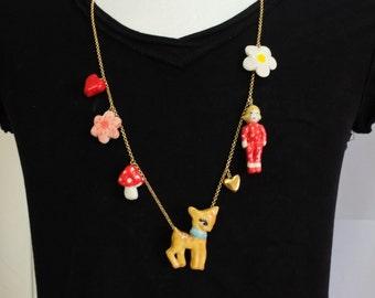 Ceramic pendants, jewelry , handmade , statement necklace, charm necklace , long necklace, elements, unique, Fugi Naim