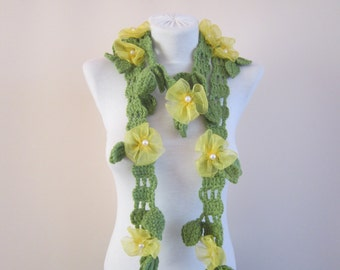 Crochet Scarf, Ribbon Flower Scarves, Lariat Accessories, Crocheted Necklace, Floral Jewelry, Green, Yellow,