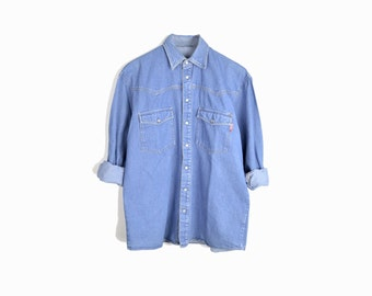 Vintage Denim Western Shirt / Blue Jean Shirt / Pearl Snap Shirt -  women's small/medium