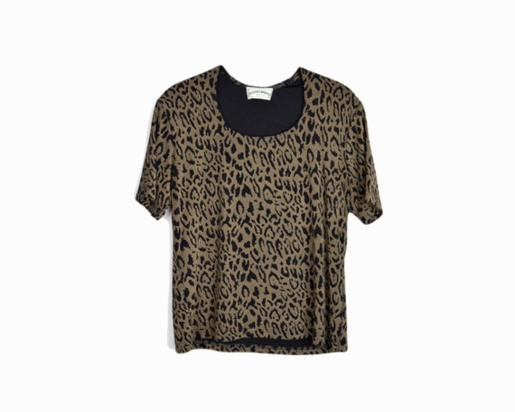 Vintage 90s Black Leopard Print Spandex Tee - women's small/medium
