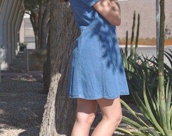 Vintage Denim Dress 90s Mini Denim Shirt Dress Tunic Cotton Denim Jean Short Dress M