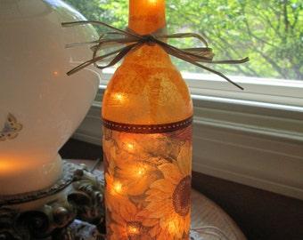 Sunflowers,fall,autumn,lighted bottles,lighted wine bottles,wine bottle lamp,sunflower lamp,decorated wine bottles,decorated bottles,autumn