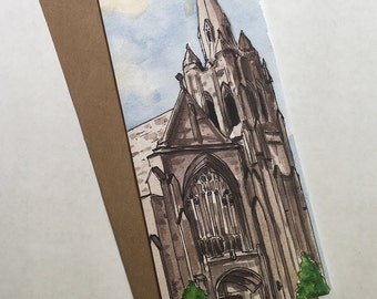 Cincinnati Greeting Card, St. Cecelia Church, Watercolor Art