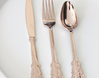 SALE 200 FAUX COPPER Cutlery Plastic Forks Knives Tableware Rose Gold Vintage Style Wedding Shower Tea Party Shabby Chic Garden