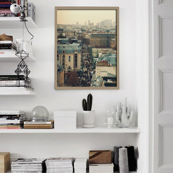 Living room print paris rooftops print 12x16 wall art for Living room 12x16