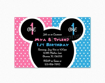 Mickey Minnie Birthday Party Invitation, Twin Invitation, pink, blue, polka dots, Printable and Printed