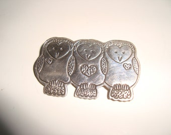 Sterling Silver 3 Little Owls Pin Hearts