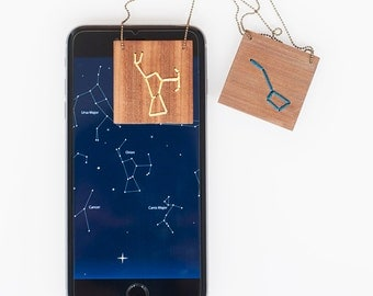 Constellation. Galaxy. Astrological Zodiac. Wooden Pendant with embroidered star constellation.Astronomy.Night sky.Personalized Custom order