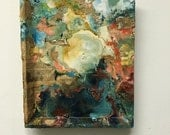 Ocean and Moon, Abstract Nature Art, Encaustic oil painting
