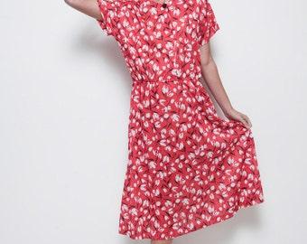 red tulip dress secretary midi day dress vintage 70s short sleeves XL 1X EXTRA LARGE (su-1)