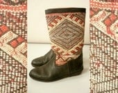 Vintage Moroccan Handcrafted Leather Kilim Boots Size UK 5