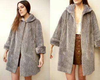 1960's Vintage Textured Faux Fur Princess Swing Coat