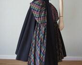 Early 1950s New Look Taffeta Circle Skirt Party Dress and Bolero Set - Huge Sculptural Bow and Swag - Holiday Plaid