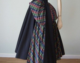 Early 1950s New Look Taffeta Circle Skirt Party Dress and Bolero Set - Huge Sculptural Bow and Swag - Holiday Plaid