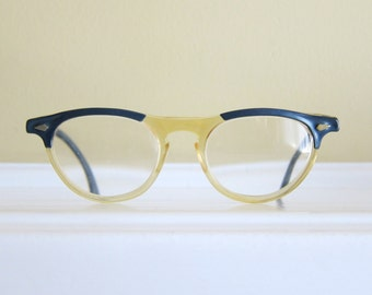 American Optical Blue and Clear Vintage Eyeglasses Frames