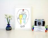 Love Bird Art Print A4, Budgie Art
