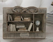 Library, FRANCE Vintage box, wood, bricolage, Petite BIBLIOTHEQUE, Paris FRANCE Brocante. Paper art