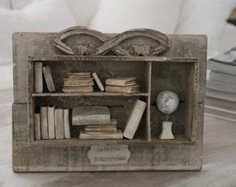 Library, FRANCE Vintage box, wood, bricolage, Petite BIBLIOTHEQUE, Paris FRANCE Brocante. Paper art