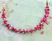 Lovely velvet vintage millinery flower stem  hot pink tiny forget me not  wreath corsage trim soft shades hat cloche bonnet dress 1940